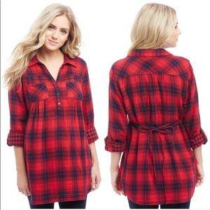 Maternity Flannel Popover Tunic